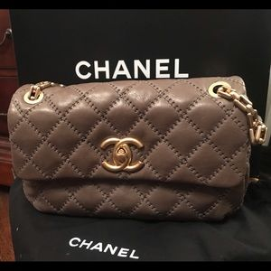 Chanel Grey Handbag, Gold Hardware, Size Medium